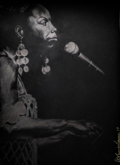 Poised to Sing (Barna Black silverpoint)